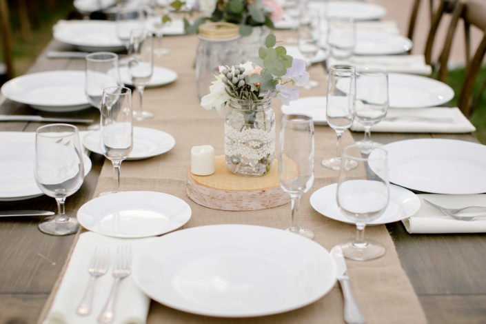 table setting Friendly Crossways Rustic Farm Wedding Venue in Harvard MA