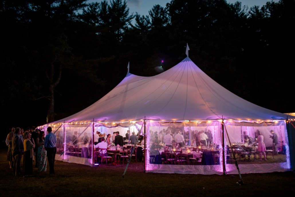 wedding tent lit in the evening
