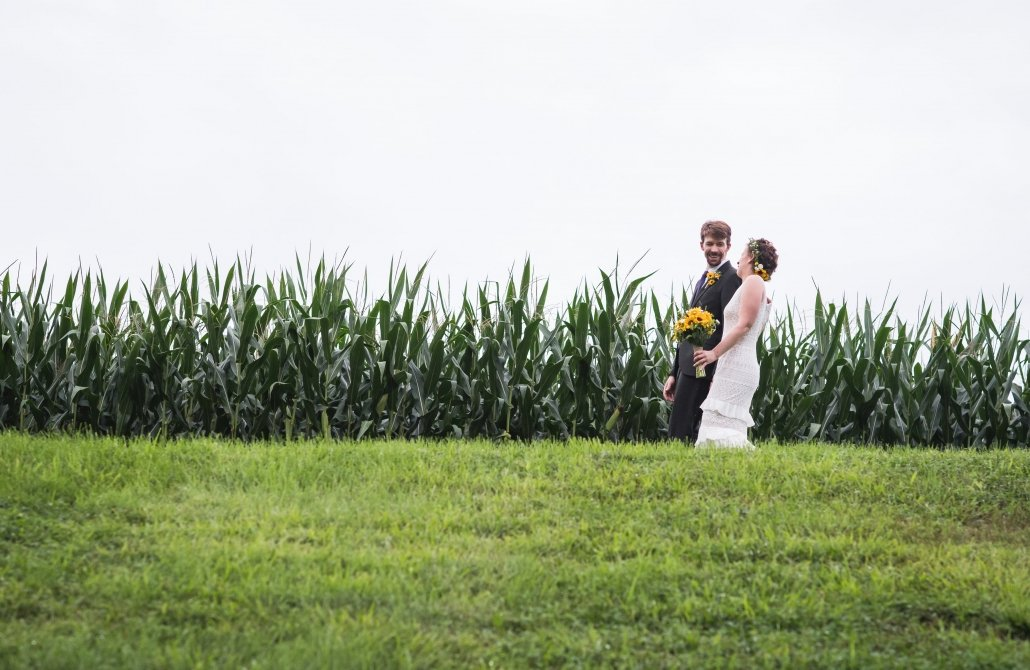Bride and groom by August corn