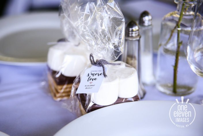 s'mores favor Friendly Crossways Rustic Farm Wedding Venue in Harvard MA