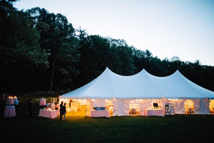 wedding tent in evening