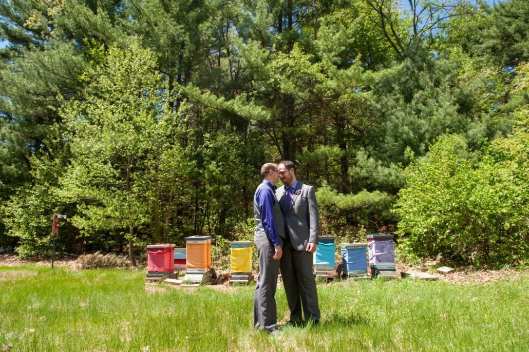 LGBTQ Engayged couple outdoor wedding